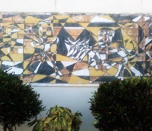 El mural de Paul Giudicelli, en el ayuntamiento de Oviedo.